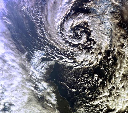 A Polar Low approaching the North Sea from the Norwegian Sea on December 6th, 2011.