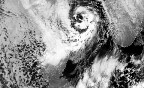 Polar Low approaching the North Sea from north.