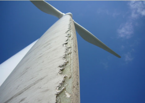 A damaged wind turbine blade